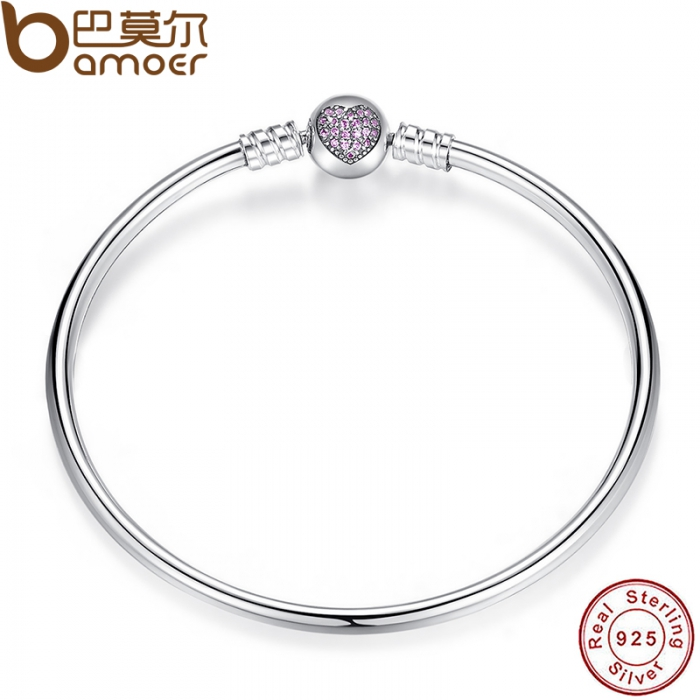925-Sterling-Silver-Snake-Chain-Heart-Bangle-Bracelet-Luxury-Jewelry-PAS904