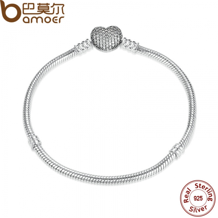 925-Sterling-Silver-Love-Heart-Chain-Snake-Bracelet-Bangle-17CM-18CM-19CM-20CM-Jewelry