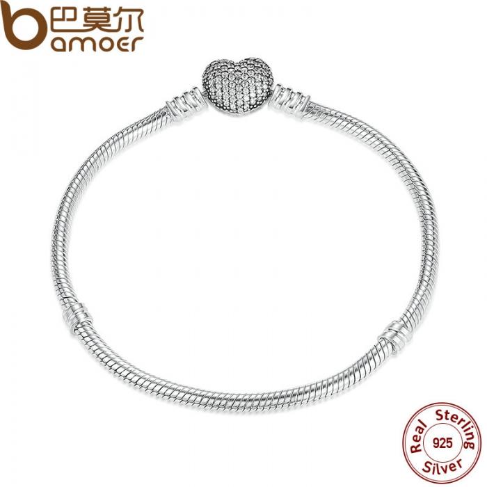 925-Sterling-Silver-Love-Heart-Chain-Snake-Bracelet-Bangle-17CM-18CM-19CM-20CM-Jewelry