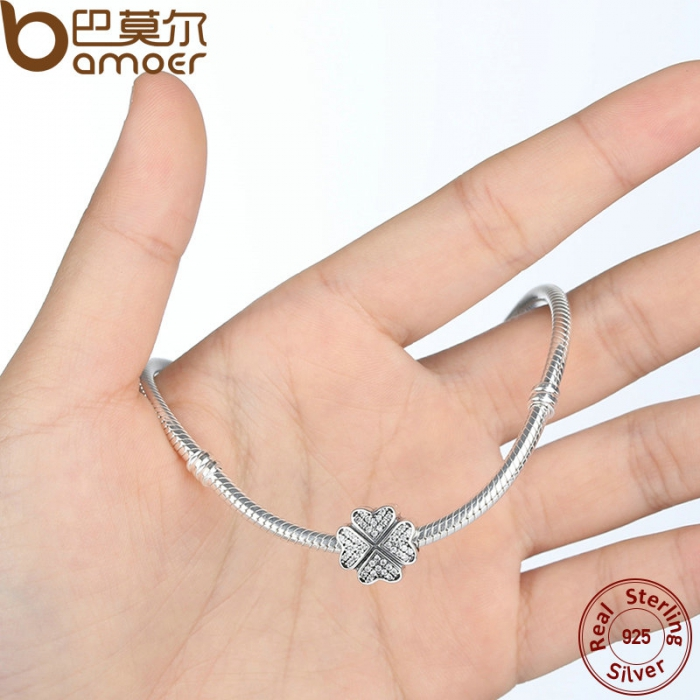 Friendship-Gift-925-Sterling-Silver-Clover-Petals-Of-Love-Clear-CZ-Charms-for-Bracelet-Girl